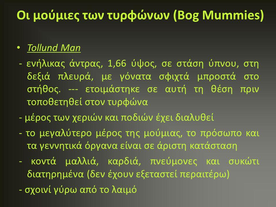 Tollund Man - ενήλικας άντρας, 1,66 ύψος, σε στάση ύπνου, στη δεξιά πλευρά, με γόνατα σφιχτά μπροστά στο στήθος. --- ετοιμάστηκε σε αυτή τη θέση πριν
