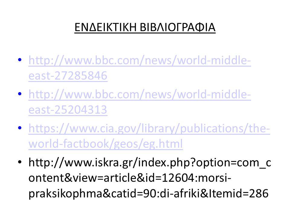 ΕΝΔΕΙΚΤΙΚΗ ΒΙΒΛΙΟΓΡΑΦΙΑ http://www.bbc.com/news/world-middle- east-27285846 http://www.bbc.com/news/world-middle- east-27285846 http://www.bbc.com/news/world-middle- east-25204313 http://www.bbc.com/news/world-middle- east-25204313 https://www.cia.gov/library/publications/the- world-factbook/geos/eg.html https://www.cia.gov/library/publications/the- world-factbook/geos/eg.html http://www.iskra.gr/index.php?option=com_c ontent&view=article&id=12604:morsi- praksikophma&catid=90:di-afriki&Itemid=286