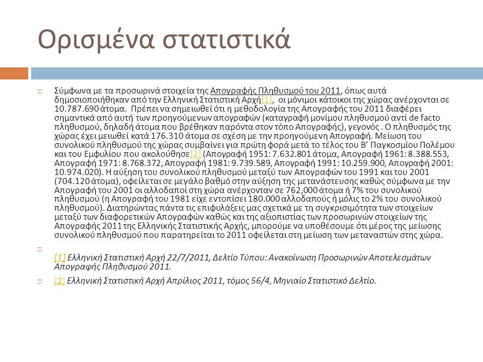 Ορισμένα στατιστικά  Σύμφωνα με τα προσωρινά στοιχεία της Απογραφής Πληθυσμού του 2011, όπως αυτά δημοσιοποιήθηκαν από την Ελληνική Στατιστική Αρχή [1], οι μόνιμοι κάτοικοι της χώρας ανέρχονται σε 10.787.690 άτομα.