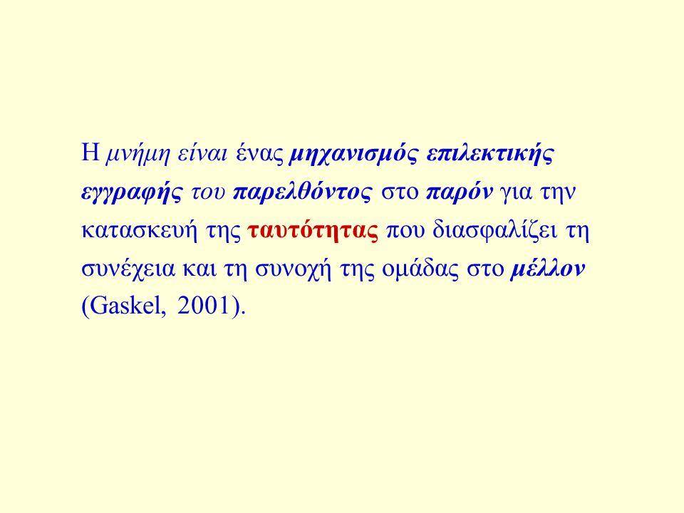 Η μνήμη είναι ένας μηχανισμός επιλεκτικής εγγραφής του παρελθόντος στο παρόν για την κατασκευή της ταυτότητας που διασφαλίζει τη συνέχεια και τη συνοχή της ομάδας στο μέλλον (Gaskel, 2001).