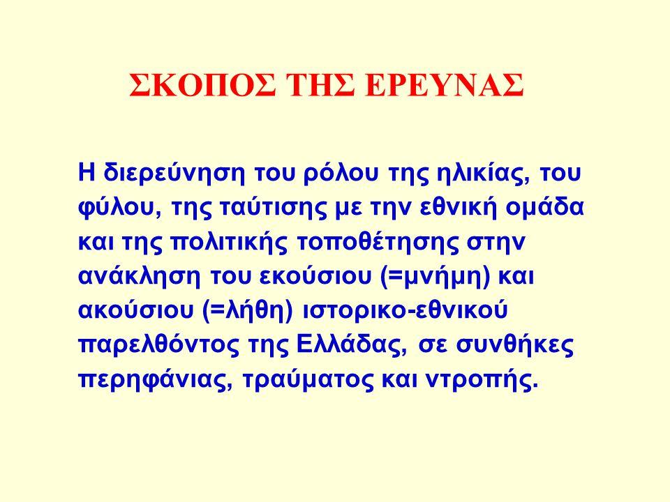 ΣΚΟΠΟΣ ΤΗΣ ΕΡΕΥΝΑΣ Η διερεύνηση του ρόλου της ηλικίας, του φύλου, της ταύτισης με την εθνική ομάδα και της πολιτικής τοποθέτησης στην ανάκληση του εκούσιου (=μνήμη) και ακούσιου (=λήθη) ιστορικο-εθνικού παρελθόντος της Ελλάδας, σε συνθήκες περηφάνιας, τραύματος και ντροπής.