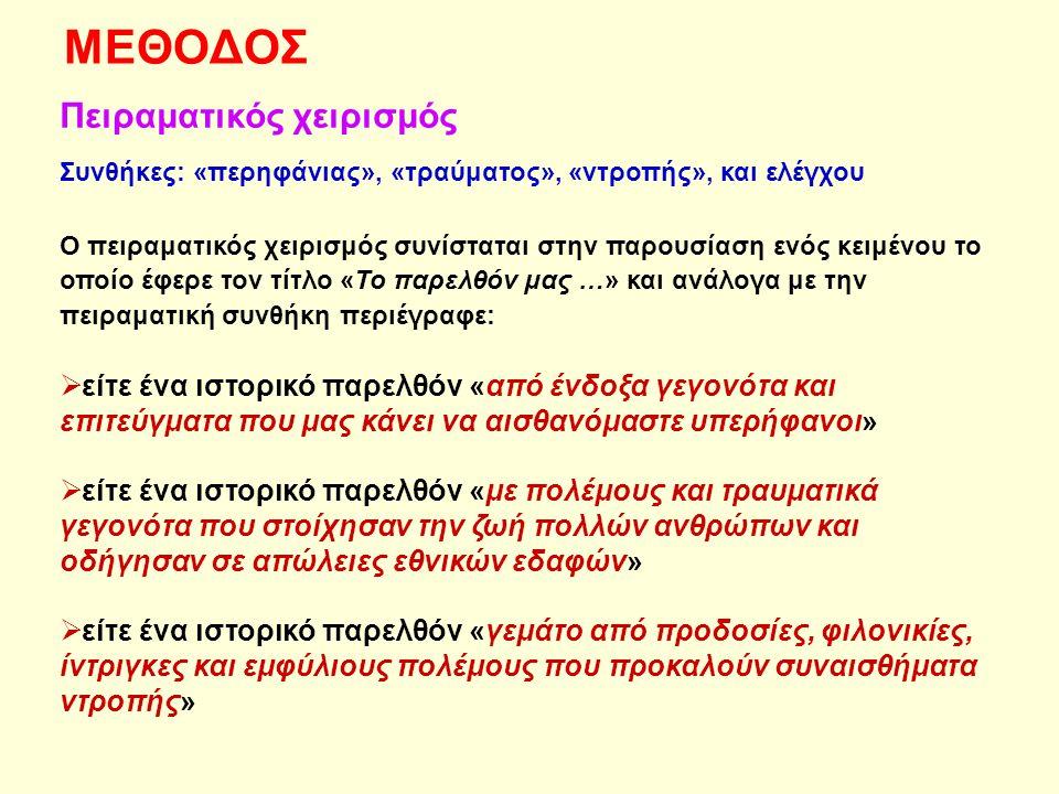 ΜΕΘΟΔΟΣ Πειραματικός χειρισμός Συνθήκες: «περηφάνιας», «τραύματος», «ντροπής», και ελέγχου Ο πειραματικός χειρισμός συνίσταται στην παρουσίαση ενός κειμένου το οποίο έφερε τον τίτλο «Το παρελθόν μας …» και ανάλογα με την πειραματική συνθήκη περιέγραφε:  είτε ένα ιστορικό παρελθόν «από ένδοξα γεγονότα και επιτεύγματα που μας κάνει να αισθανόμαστε υπερήφανοι»  είτε ένα ιστορικό παρελθόν «με πολέμους και τραυματικά γεγονότα που στοίχησαν την ζωή πολλών ανθρώπων και οδήγησαν σε απώλειες εθνικών εδαφών»  είτε ένα ιστορικό παρελθόν «γεμάτο από προδοσίες, φιλονικίες, ίντριγκες και εμφύλιους πολέμους που προκαλούν συναισθήματα ντροπής»