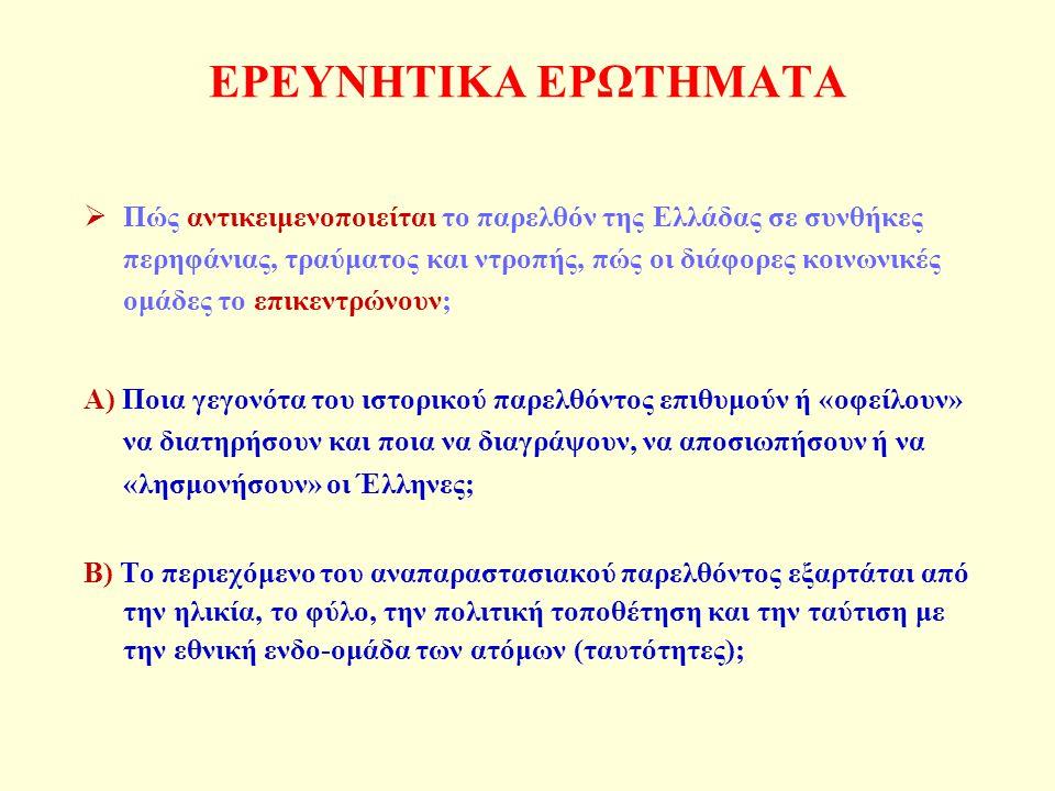 ΕΡΕΥΝΗΤΙΚΑ ΕΡΩΤΗΜΑΤΑ  Πώς αντικειμενοποιείται το παρελθόν της Ελλάδας σε συνθήκες περηφάνιας, τραύματος και ντροπής, πώς οι διάφορες κοινωνικές ομάδες το επικεντρώνουν; Α) Ποια γεγονότα του ιστορικού παρελθόντος επιθυμούν ή «οφείλουν» να διατηρήσουν και ποια να διαγράψουν, να αποσιωπήσουν ή να «λησμονήσουν» οι Έλληνες; Β) Το περιεχόμενο του αναπαραστασιακού παρελθόντος εξαρτάται από την ηλικία, το φύλο, την πολιτική τοποθέτηση και την ταύτιση με την εθνική ενδο-ομάδα των ατόμων (ταυτότητες);