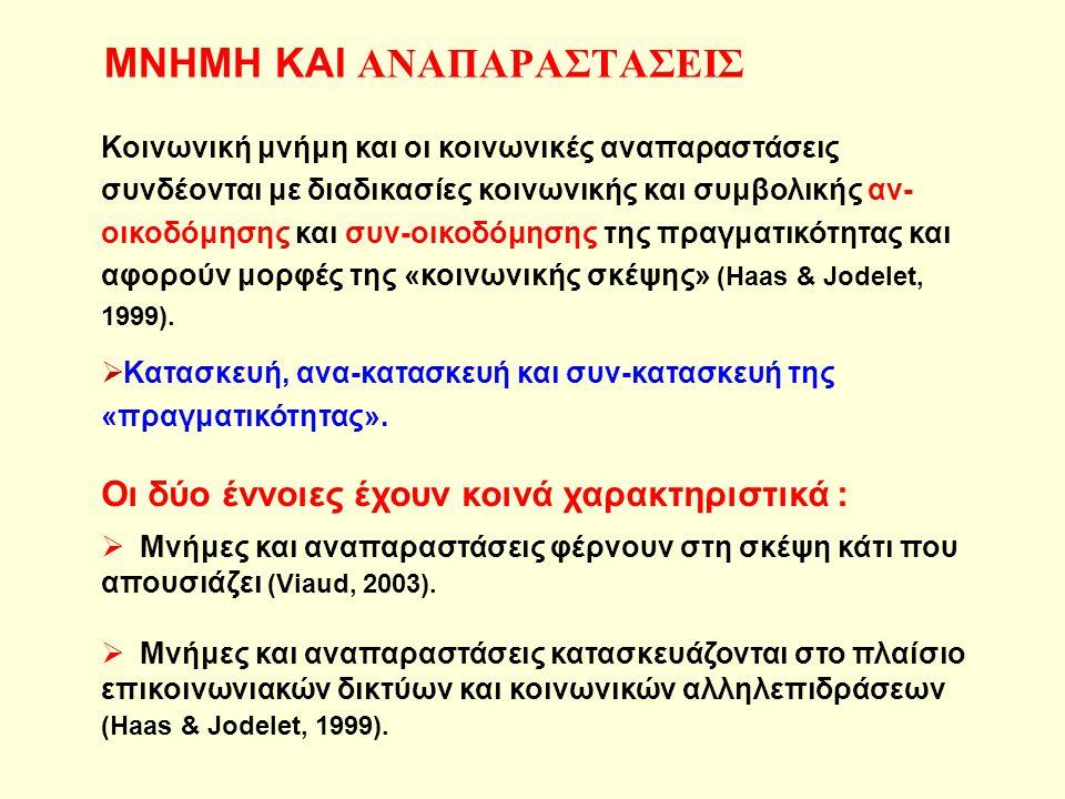 ΜΝΗΜΗ ΚΑΙ ΑΝΑΠΑΡΑΣΤΑΣΕΙΣ Κοινωνική μνήμη και οι κοινωνικές αναπαραστάσεις συνδέονται με διαδικασίες κοινωνικής και συμβολικής αν- οικοδόμησης και συν-οικοδόμησης της πραγματικότητας και αφορούν μορφές της «κοινωνικής σκέψης» (Haas & Jodelet, 1999).