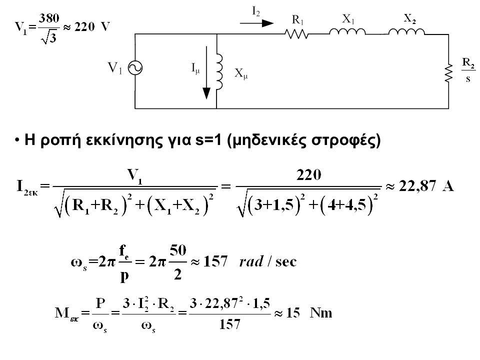 Η ροπή εκκίνησης για s=1 (μηδενικές στροφές)
