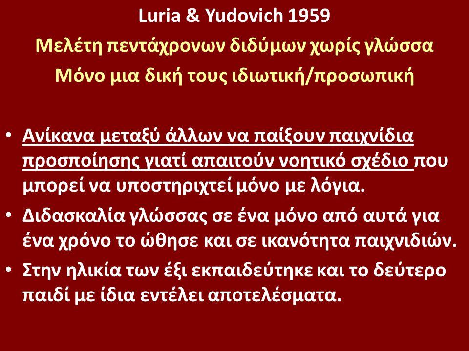 Luria & Yudovich 1959 Mελέτη πεντάχρονων διδύμων χωρίς γλώσσα Μόνο μια δική τους ιδιωτική/προσωπική Ανίκανα μεταξύ άλλων να παίξουν παιχνίδια προσποίησης γιατί απαιτούν νοητικό σχέδιο που μπορεί να υποστηριχτεί μόνο με λόγια.
