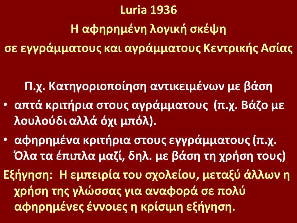 Luria 1936 H αφηρημένη λογική σκέψη σε εγγράμματους και αγράμματους Κεντρικής Ασίας Π.χ. Κατηγοριοποίηση αντικειμένων με βάση απτά κριτήρια στους αγρά