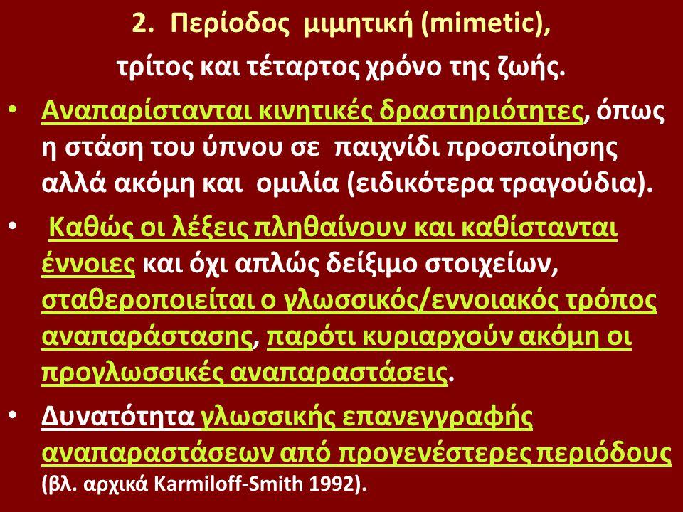 2.Περίοδος μιμητική (mimetic), τρίτος και τέταρτος χρόνο της ζωής. Αναπαρίστανται κινητικές δραστηριότητες, όπως η στάση του ύπνου σε παιχνίδι προσποί