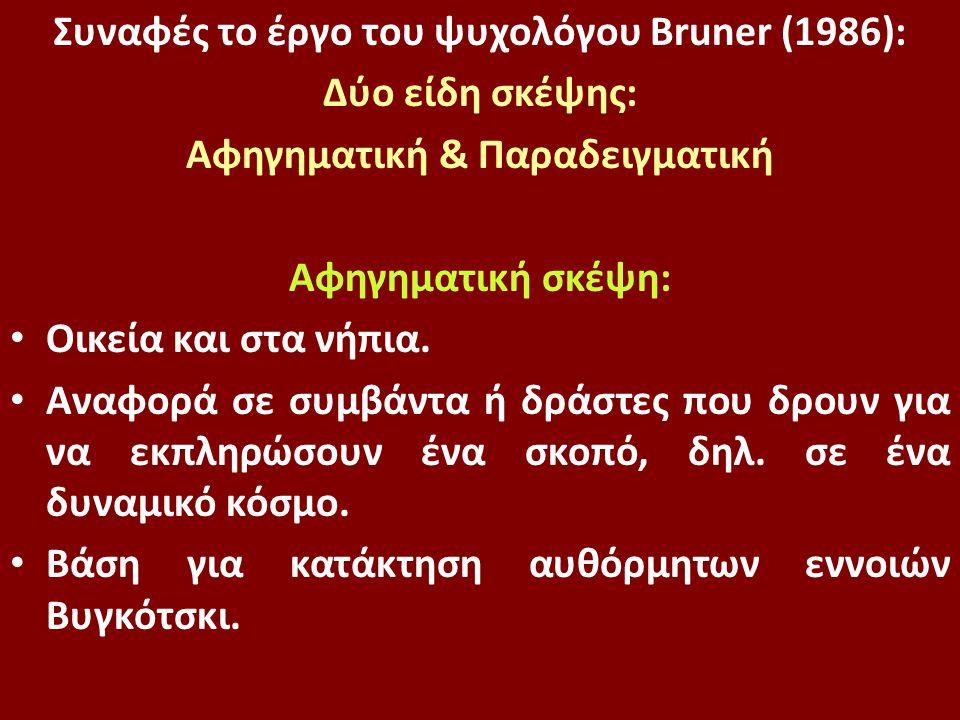 Συναφές το έργο του ψυχολόγου Bruner (1986): Δύο είδη σκέψης: Αφηγηματική & Παραδειγματική Αφηγηματική σκέψη: Οικεία και στα νήπια. Αναφορά σε συμβάντ