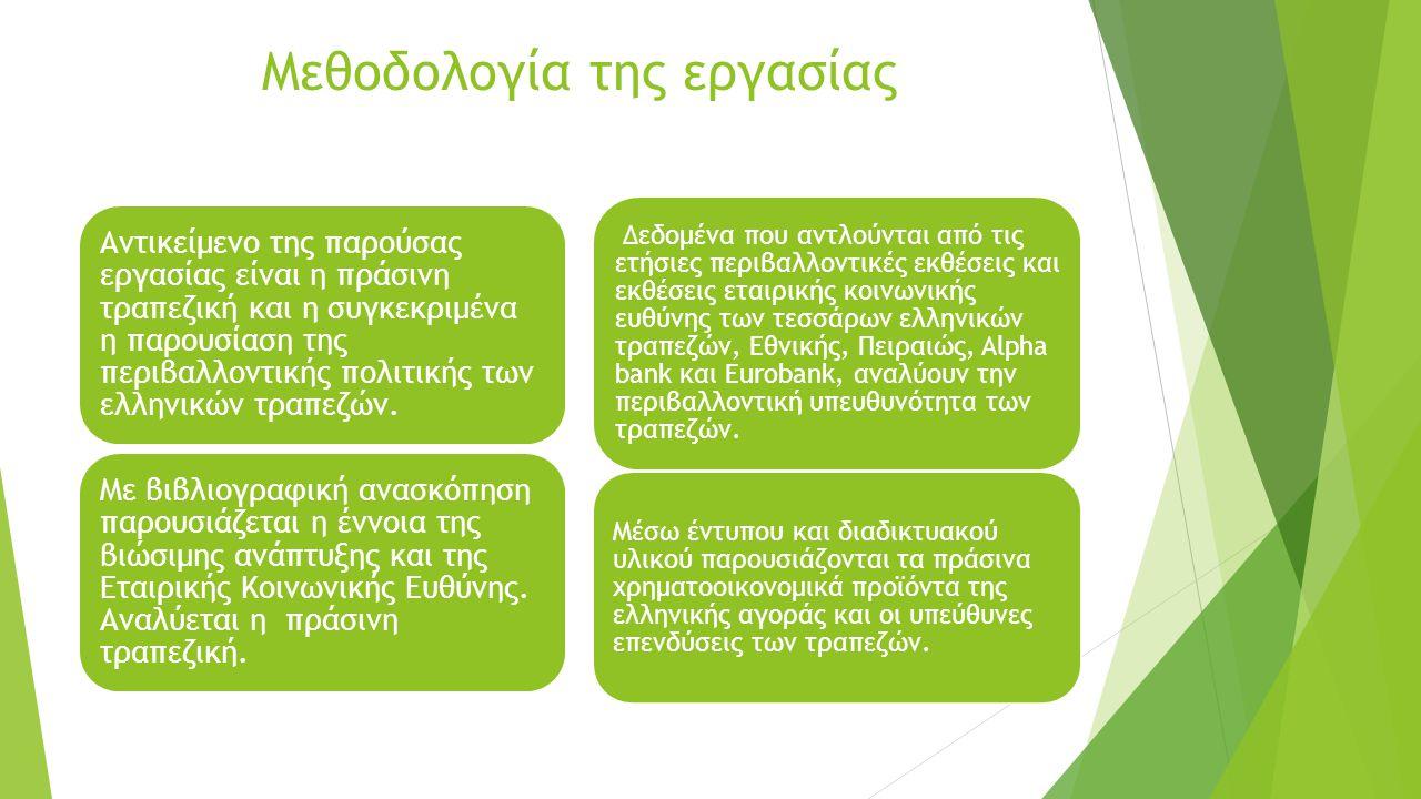Πράσινη Τραπεζική Πρακτικές που ακολουθούν οι τράπεζες για την μείωση του περιβαλλοντικού τους αποτυπώματος.