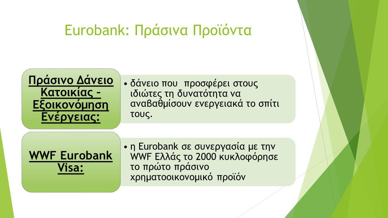 Eurobank: Πράσινα Προϊόντα δάνειο που προσφέρει στους ιδιώτες τη δυνατότητα να αναβαθμίσουν ενεργειακά το σπίτι τους.