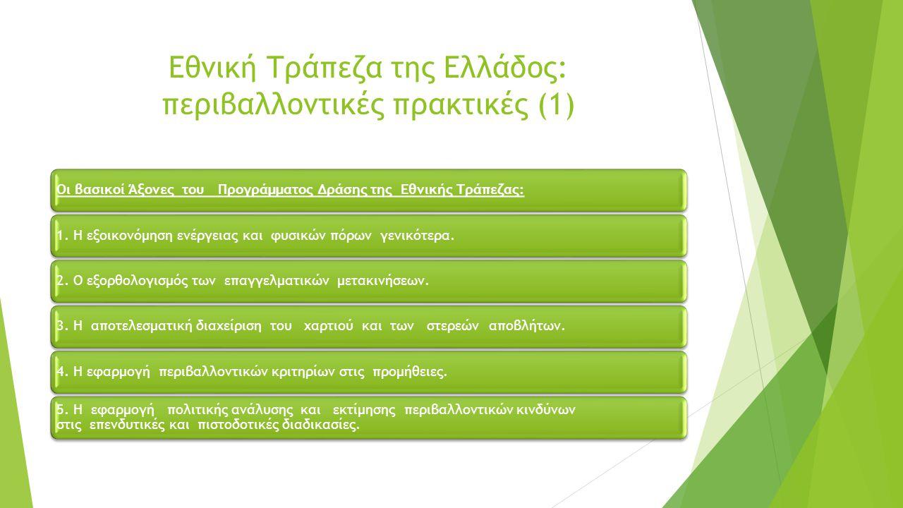 Εθνική Τράπεζα της Ελλάδος: περιβαλλοντικές πρακτικές (2) Υποκατάσταση πετρελαίου θέρμανσης με φυσικό αέριο.
