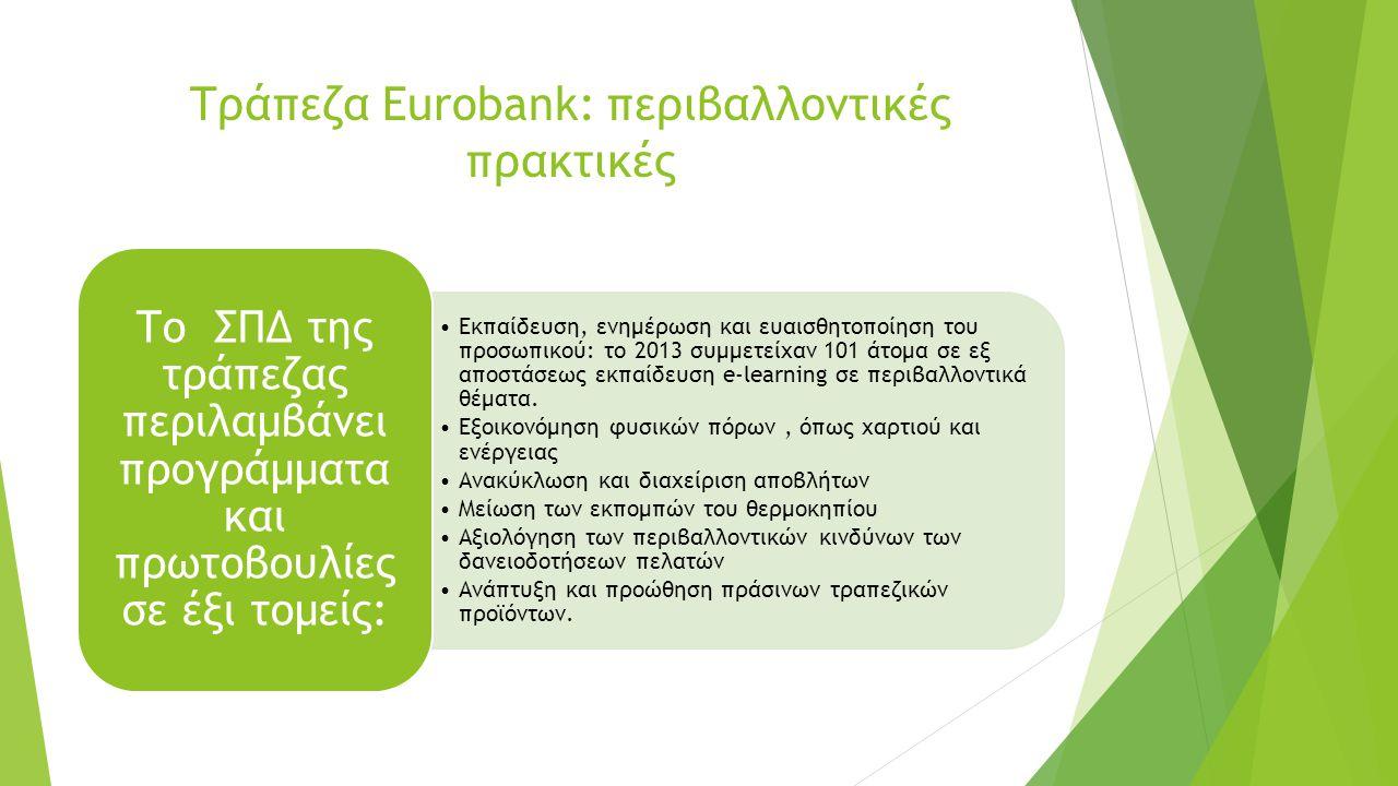 Συγκριτικά διαγράμματα περιβαλλοντικών επιδόσεων των τραπεζών (1) Κατανάλωση ενέργειας ανά τετραγωνική επιφάνεια της κάθε τράπεζας Η Eurobank παρουσιάζει ελάχιστη μείωση μέσα στην τριετία.
