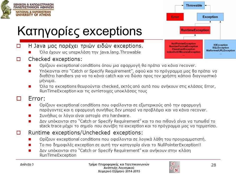 Διάλεξη 3 Τμήμα Πληροφορικής και Τηλεπικοινωνιών Ανάπτυξη Λογισμικού Χειμερινό Εξάμηνο 2014-2015 28 Κατηγορίες exceptions  Η Java μας παρέχει τριών ειδών exceptions.
