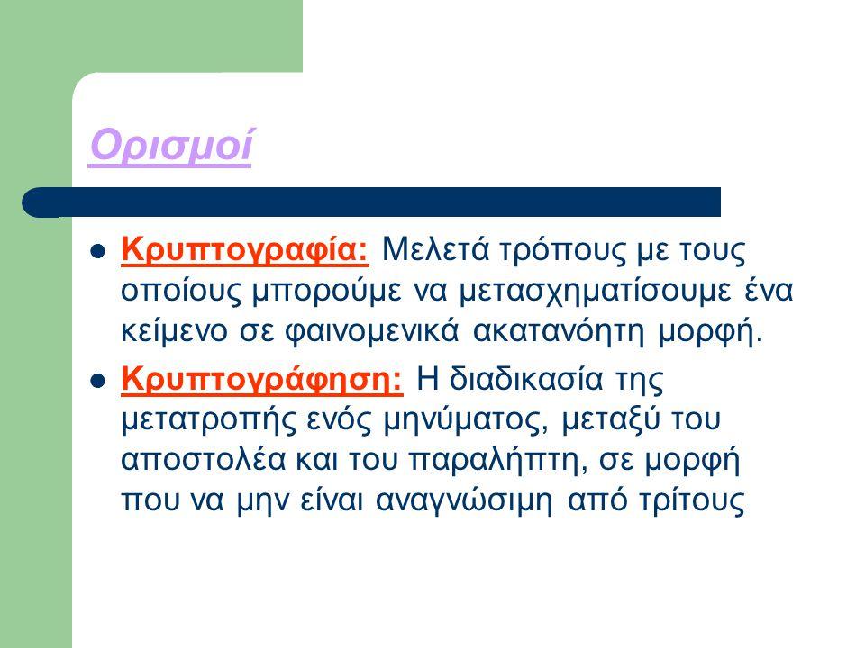 Ορισμοί Κρυπτογραφία: Μελετά τρόπους με τους οποίους μπορούμε να μετασχηματίσουμε ένα κείμενο σε φαινομενικά ακατανόητη μορφή.