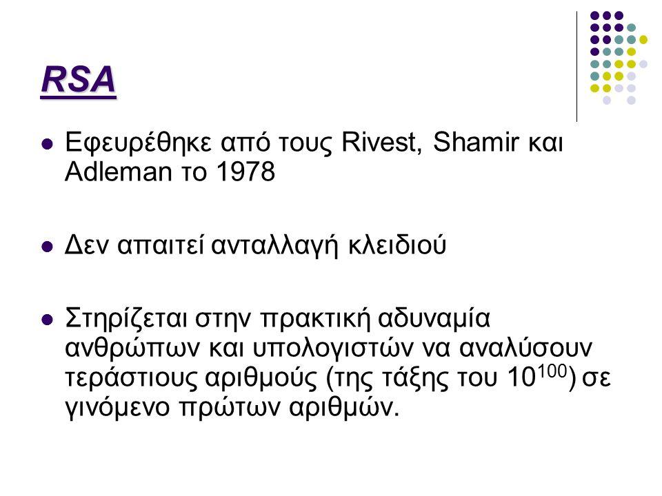 RSA Εφευρέθηκε από τους Rivest, Shamir και Adleman το 1978 Δεν απαιτεί ανταλλαγή κλειδιού Στηρίζεται στην πρακτική αδυναμία ανθρώπων και υπολογιστών να αναλύσουν τεράστιους αριθμούς (της τάξης του 10 100 ) σε γινόμενο πρώτων αριθμών.