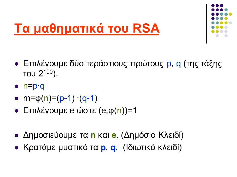Τα μαθηματικά του RSA Επιλέγουμε δύο τεράστιους πρώτους p, q (της τάξης του 2 100 ).