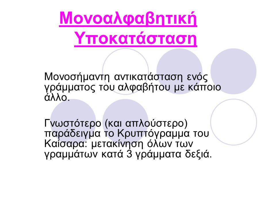 Μονοαλφαβητική Υποκατάσταση Μονοσήμαντη αντικατάσταση ενός γράμματος του αλφαβήτου με κάποιο άλλο.