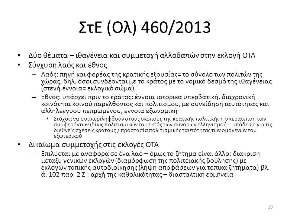 ΣτΕ (Ολ) 460/2013 Δύο θέματα – ιθαγένεια και συμμετοχή αλλοδαπών στην εκλογή ΟΤΑ Σύγχυση λαός και έθνος – Λαός: πηγή και φορέας της κρατικής εξουσίας=
