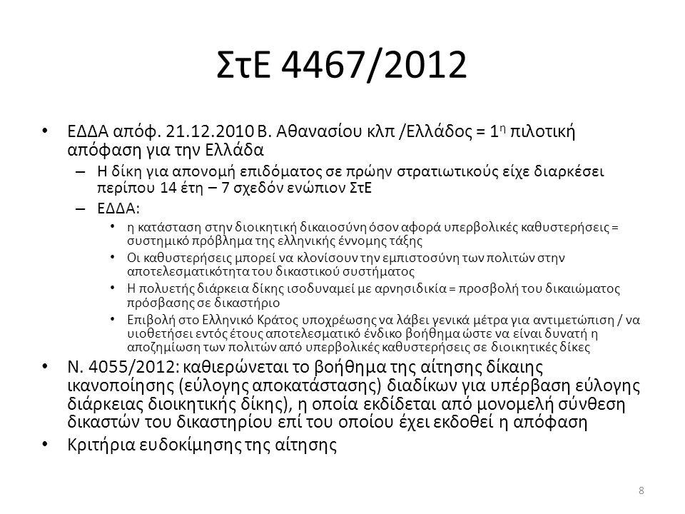 ΣτΕ 4467/2012 ΕΔΔΑ απόφ. 21.12.2010 Β. Αθανασίου κλπ /Ελλάδος = 1 η πιλοτική απόφαση για την Ελλάδα – Η δίκη για απονομή επιδόματος σε πρώην στρατιωτι