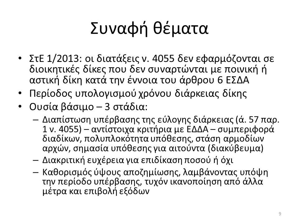 Συναφή θέματα ΣτΕ 1/2013: οι διατάξεις ν. 4055 δεν εφαρμόζονται σε διοικητικές δίκες που δεν συναρτώνται με ποινική ή αστική δίκη κατά την έννοια του