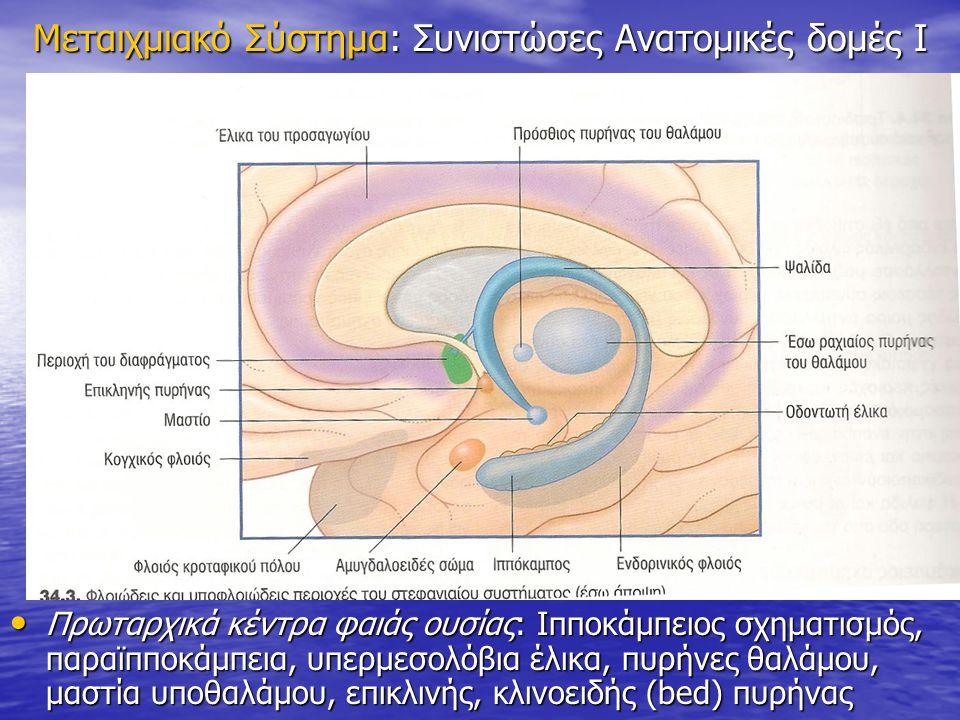Μεταιχμιακό Σύστημα: Συνιστώσες Ανατομικές δομές Ι Πρωταρχικά κέντρα φαιάς ουσίας: Ιπποκάμπειος σχηματισμός, παραϊπποκάμπεια, υπερμεσολόβια έλικα, πυρ