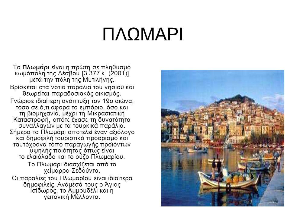 ΠΛΩΜΑΡΙ Το Πλωμάρι είναι η πρώτη σε πληθυσμό κωμόπολη της Λέσβου [3.377 κ.