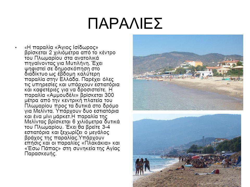 ΠΑΡΑΛΙΕΣ « Η παραλία «Άγιος Ισίδωρος» βρίσκεται 2 χιλιόμετρα από το κέντρο του Πλωμαρίου στα ανατολικά πηγαίνοντας για Μυτιλήνη.