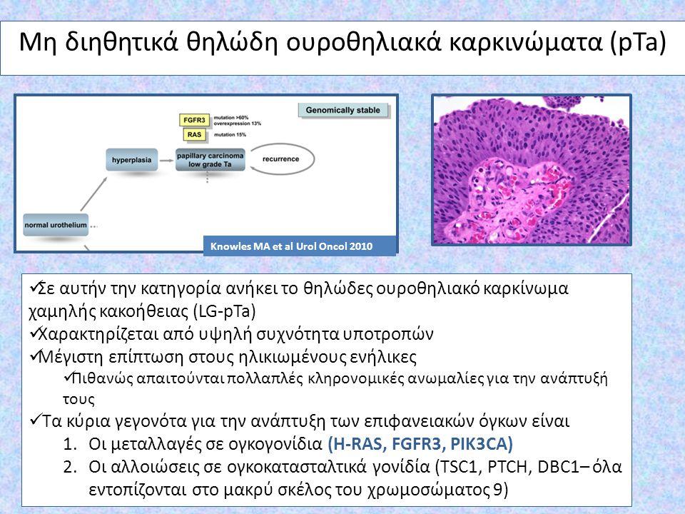 Μη διηθητικά θηλώδη ουροθηλιακά καρκινώματα (pTa) Σε αυτήν την κατηγορία ανήκει το θηλώδες ουροθηλιακό καρκίνωμα χαμηλής κακοήθειας (LG-pTa) Χαρακτηρί