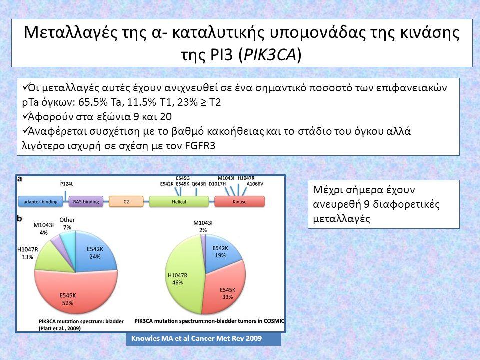 Μεταλλαγές της α- καταλυτικής υπομονάδας της κινάσης της PI3 (PIK3CA) Οι μεταλλαγές αυτές έχουν ανιχνευθεί σε ένα σημαντικό ποσοστό των επιφανειακών p
