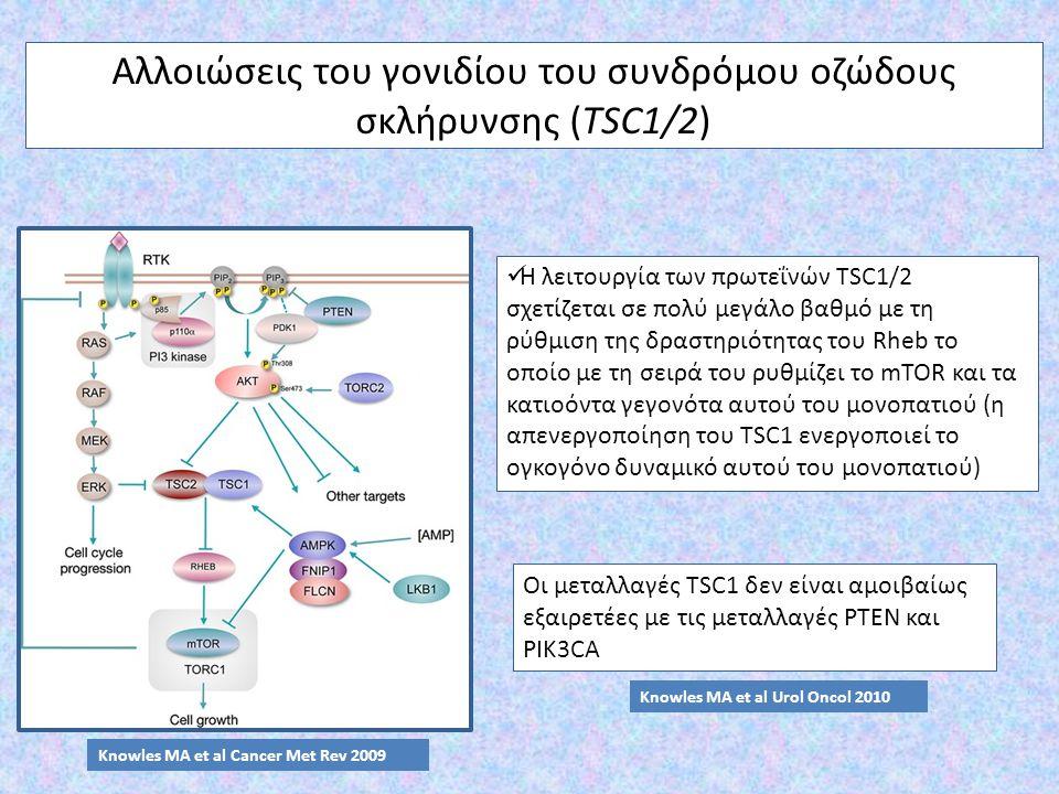Αλλοιώσεις του γονιδίου του συνδρόμου οζώδους σκλήρυνσης (TSC1/2) Η λειτουργία των πρωτεΐνών TSC1/2 σχετίζεται σε πολύ μεγάλο βαθμό με τη ρύθμιση της