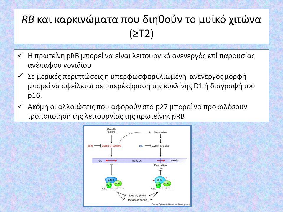 RB και καρκινώματα που διηθούν το μυϊκό χιτώνα (≥T2) Η πρωτεΐνη pRB μπορεί να είναι λειτουργικά ανενεργός επί παρουσίας ανέπαφου γονιδίου Σε μερικές π