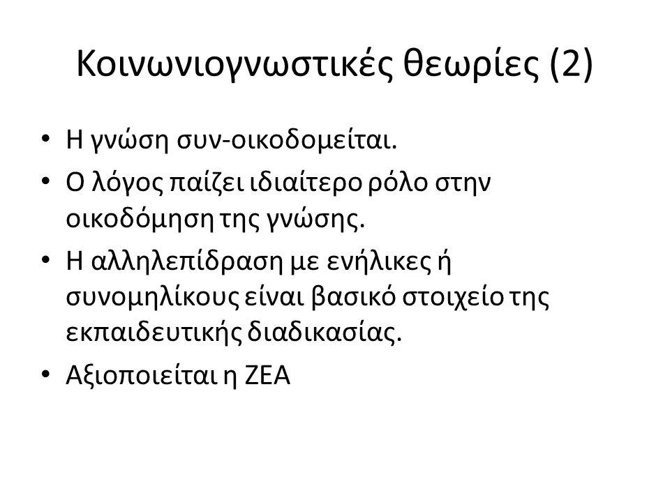 Κοινωνιογνωστικές θεωρίες (2) Η γνώση συν-οικοδομείται.