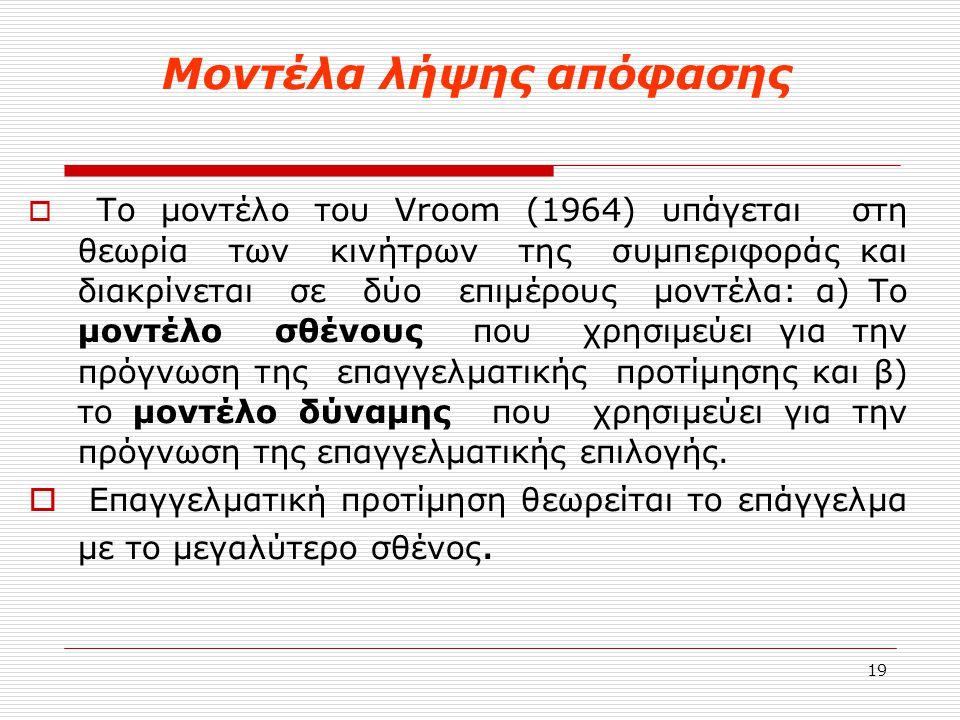19 Μοντέλα λήψης απόφασης  Το μοντέλο του Vroom (1964) υπάγεται στη θεωρία των κινήτρων της συμπεριφοράς και διακρίνεται σε δύο επιμέρους μοντέλα: α)