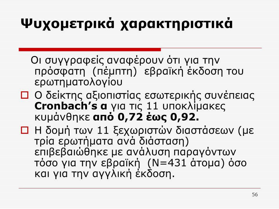 56 Ψυχομετρικά χαρακτηριστικά Οι συγγραφείς αναφέρουν ότι για την πρόσφατη (πέμπτη) εβραϊκή έκδοση του ερωτηματολογίου  Ο δείκτης αξιοπιστίας εσωτερι