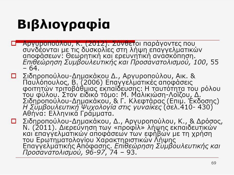 69 Βιβλιογραφία  Αργυροπούλου, Κ. (2012). Σύνθετοι παράγοντες που συνδέονται με τις δυσκολίες στη λήψη επαγγελματικών αποφάσεων: Θεωρητική και ερευνη