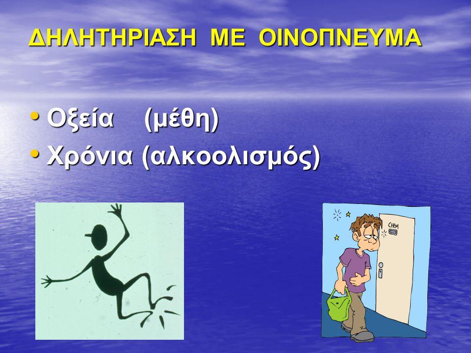 ΔΗΛΗΤΗΡΙΑΣΗ ΜΕ ΟΙΝΟΠΝΕΥΜΑ Οξεία (μέθη) Οξεία (μέθη) Χρόνια (αλκοολισμός) Χρόνια (αλκοολισμός)