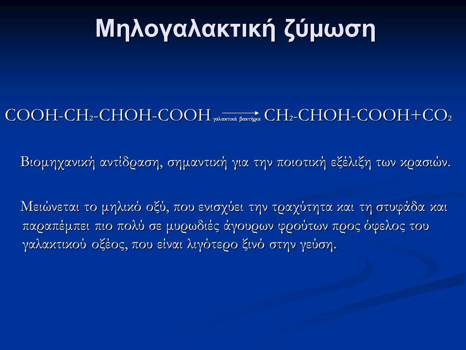 Μηλογαλακτική ζύμωση COOH-CH 2 -CHOH-COOH γαλακτικά βακτήρια CH 2 - CHOH-COOH+CO 2 Βιομηχανική αντίδραση, σημαντική για την ποιοτική εξέλιξη των κρασιών.