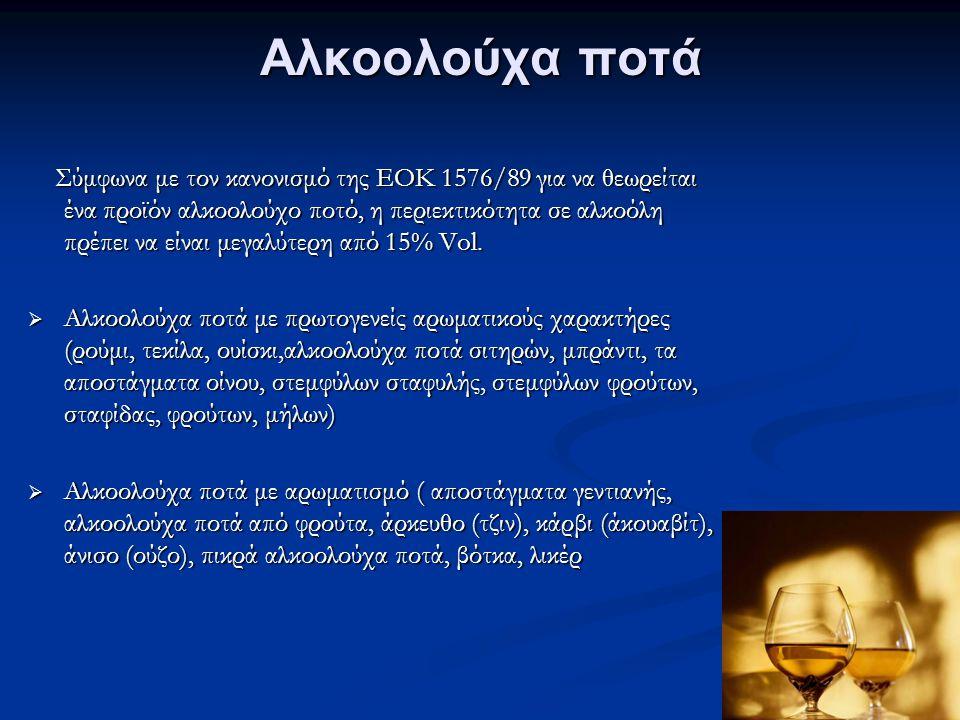 Αλκοολούχα ποτά Σύμφωνα με τον κανονισμό της ΕΟΚ 1576/89 για να θεωρείται ένα προϊόν αλκοολούχο ποτό, η περιεκτικότητα σε αλκοόλη πρέπει να είναι μεγαλύτερη από 15% Vol.
