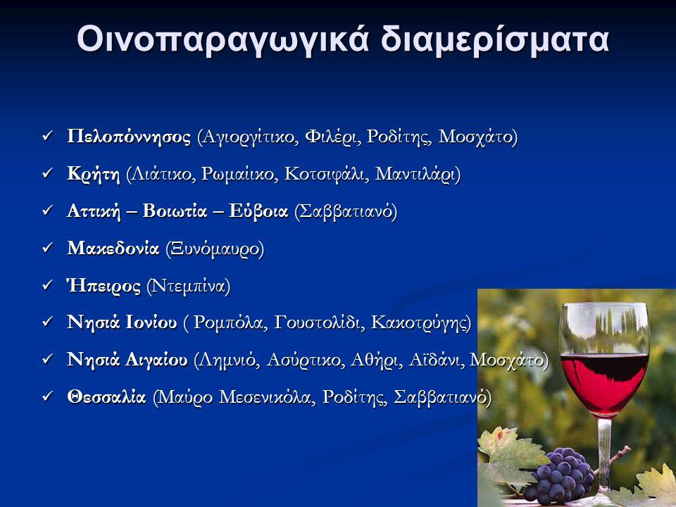 Οινοπαραγωγικά διαμερίσματα Πελοπόννησος (Αγιοργίτικο, Φιλέρι, Ροδίτης, Μοσχάτο) Πελοπόννησος (Αγιοργίτικο, Φιλέρι, Ροδίτης, Μοσχάτο) Κρήτη (Λιάτικο, Ρωμαίικο, Κοτσιφάλι, Μαντιλάρι) Κρήτη (Λιάτικο, Ρωμαίικο, Κοτσιφάλι, Μαντιλάρι) Αττική – Βοιωτία – Εύβοια (Σαββατιανό) Αττική – Βοιωτία – Εύβοια (Σαββατιανό) Μακεδονία (Ξυνόμαυρο) Μακεδονία (Ξυνόμαυρο) Ήπειρος (Ντεμπίνα) Ήπειρος (Ντεμπίνα) Νησιά Ιονίου ( Ρομπόλα, Γουστολίδι, Κακοτρύγης) Νησιά Ιονίου ( Ρομπόλα, Γουστολίδι, Κακοτρύγης) Νησιά Αιγαίου (Λημνιό, Ασύρτικο, Αθήρι, Αϊδάνι, Μοσχάτο) Νησιά Αιγαίου (Λημνιό, Ασύρτικο, Αθήρι, Αϊδάνι, Μοσχάτο) Θεσσαλία (Μαύρο Μεσενικόλα, Ροδίτης, Σαββατιανό) Θεσσαλία (Μαύρο Μεσενικόλα, Ροδίτης, Σαββατιανό)