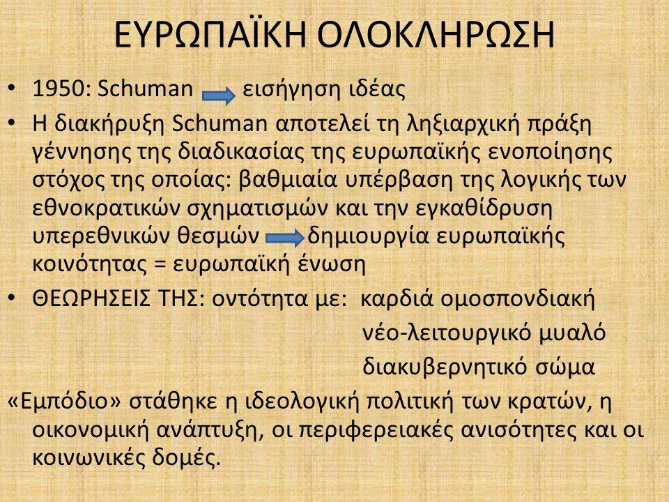 ΕΥΡΩΠΑΪΚΗ ΟΛΟΚΛΗΡΩΣΗ 1950: Schuman εισήγηση ιδέας Η διακήρυξη Schuman αποτελεί τη ληξιαρχική πράξη γέννησης της διαδικασίας της ευρωπαϊκής ενοποίησης στόχος της οποίας: βαθμιαία υπέρβαση της λογικής των εθνοκρατικών σχηματισμών και την εγκαθίδρυση υπερεθνικών θεσμών δημιουργία ευρωπαϊκής κοινότητας = ευρωπαϊκή ένωση ΘΕΩΡΗΣΕΙΣ ΤΗΣ: οντότητα με: καρδιά ομοσπονδιακή νέο-λειτουργικό μυαλό διακυβερνητικό σώμα «Εμπόδιο» στάθηκε η ιδεολογική πολιτική των κρατών, η οικονομική ανάπτυξη, οι περιφερειακές ανισότητες και οι κοινωνικές δομές.