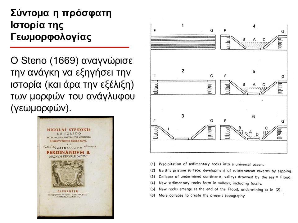 Σύντομα η πρόσφατη Ιστορία της Γεωμορφολογίας Ο Steno (1669) αναγνώρισε την ανάγκη να εξηγήσει την ιστορία (και άρα την εξέλιξη) των μορφών του ανάγλυ
