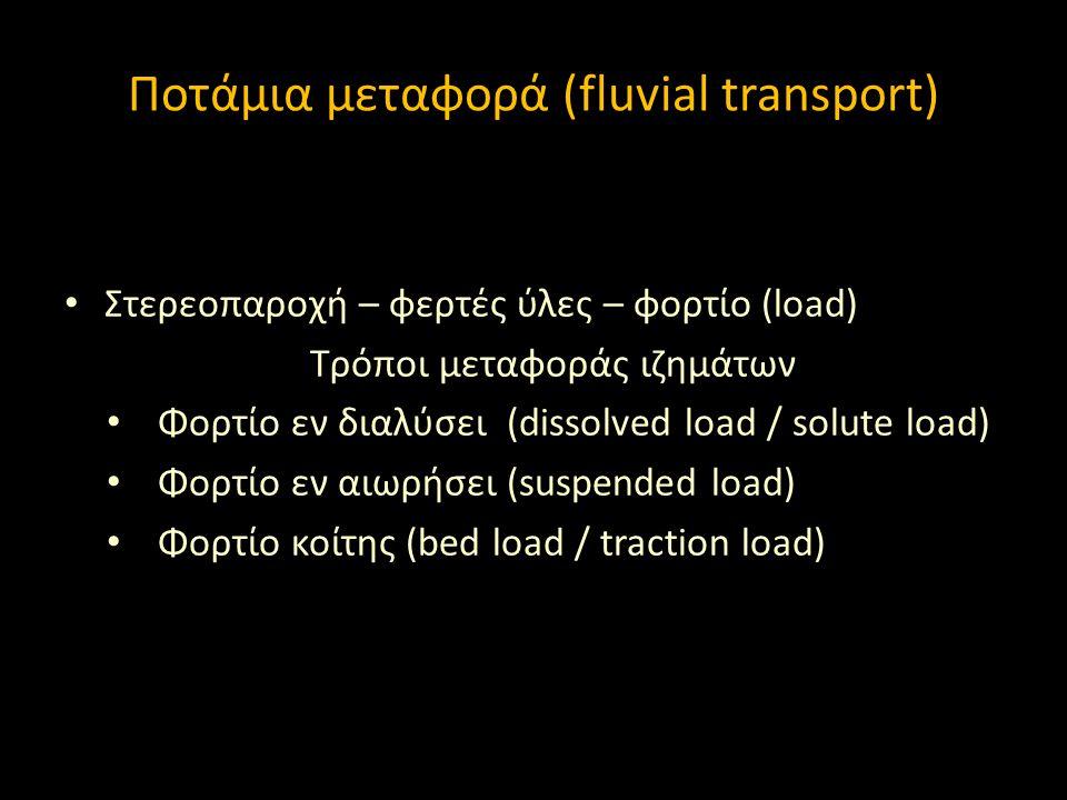 Στερεοπαροχή – φερτές ύλες – φορτίο (load) Τρόποι μεταφοράς ιζημάτων Φορτίο εν διαλύσει (dissolved load / solute load) Φορτίο εν αιωρήσει (suspended l