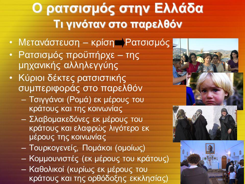 Ο ρατσισμός στην Ελλάδα Τι γινόταν στο παρελθόν Μετανάστευση – κρίση Ρατσισμός Ρατσισμός προϋπήρχε – της μηχανικής αλληλεγγύης Κύριοι δέκτες ρατσιστικής συμπεριφοράς στο παρελθόν –Τσιγγάνοι (Ρομά) εκ μέρους του κράτους και της κοινωνίας –Σλαβομακεδόνες εκ μέρους του κράτους και ελαφρώς λιγότερο εκ μέρους της κοινωνίας –Τουρκογενείς, Πομάκοι (ομοίως) –Κομμουνιστές (εκ μέρους του κράτους) –Καθολικοί (κυρίως εκ μέρους του κράτους και της ορθόδοξης εκκλησίας)