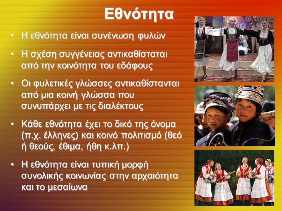 Εθνότητα Η εθνότητα είναι συνένωση φυλώνΗ εθνότητα είναι συνένωση φυλών Η σχέση συγγένειας αντικαθίσταται από την κοινότητα του εδάφουςΗ σχέση συγγένειας αντικαθίσταται από την κοινότητα του εδάφους Οι φυλετικές γλώσσες αντικαθίστανται από μια κοινή γλώσσα που συνυπάρχει με τις διαλέκτουςΟι φυλετικές γλώσσες αντικαθίστανται από μια κοινή γλώσσα που συνυπάρχει με τις διαλέκτους Κάθε εθνότητα έχει το δικό της όνομα (π.χ.