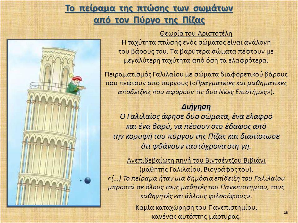 Το πείραμα της πτώσης των σωμάτων από τον Πύργο της Πίζας Θεωρία του Αριστοτέλη Η ταχύτητα πτώσης ενός σώματος είναι ανάλογη του βάρους του.