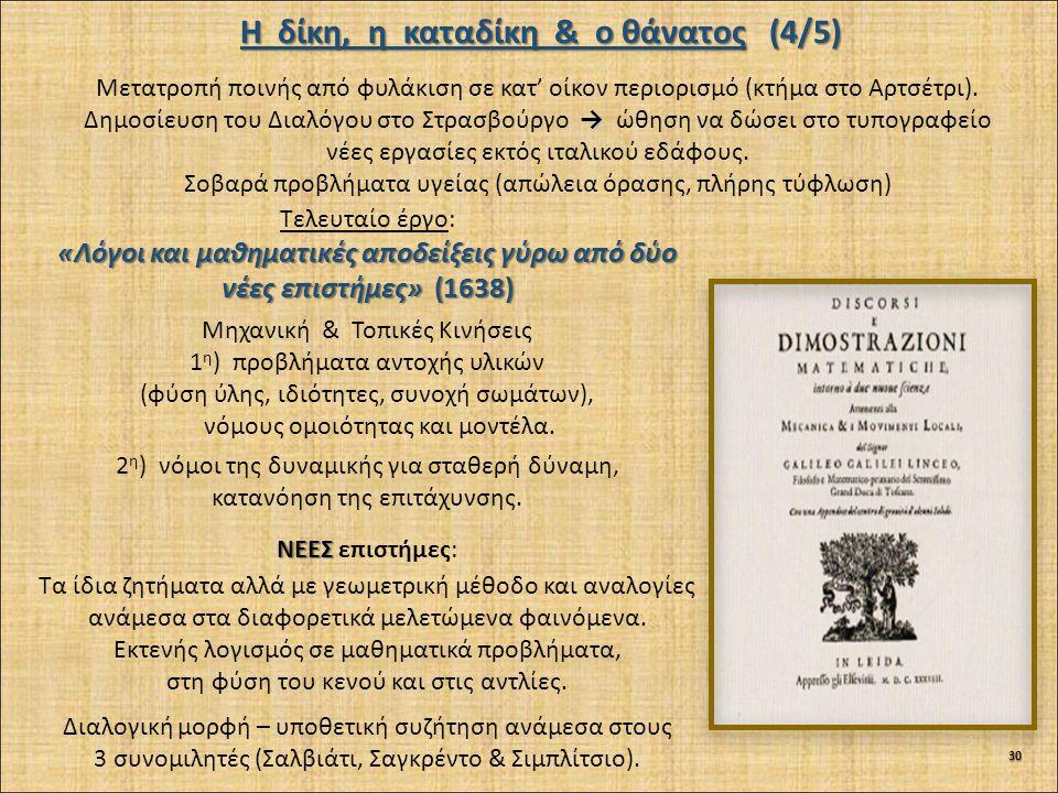 Μετατροπή ποινής από φυλάκιση σε κατ' οίκον περιορισμό (κτήμα στο Αρτσέτρι). → Δημοσίευση του Διαλόγου στο Στρασβούργο → ώθηση να δώσει στο τυπογραφεί