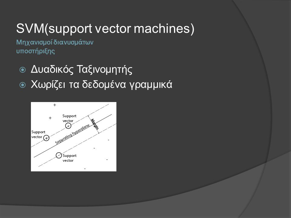 Μηχανισμοί διανυσμάτων υποστήριξης SVM(support vector machines)  Δυαδικός Ταξινομητής  Χωρίζει τα δεδομένα γραμμικά