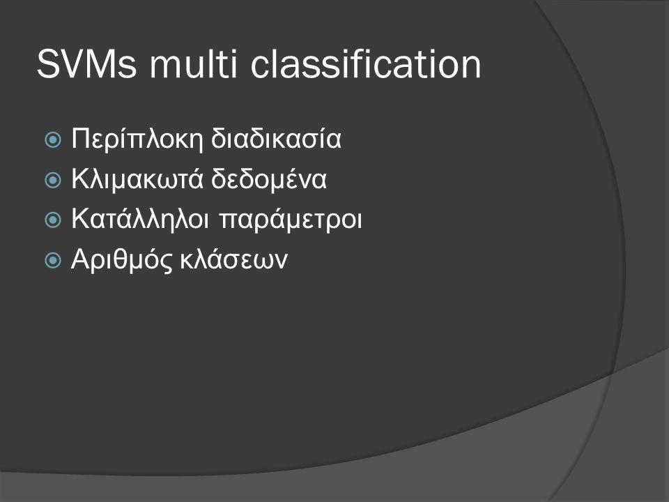 SVMs multi classification  Περίπλοκη διαδικασία  Κλιμακωτά δεδομένα  Κατάλληλοι παράμετροι  Αριθμός κλάσεων
