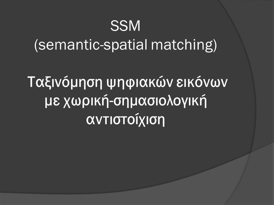 SSM(semantic-spatial matching)  Η SSM είναι ο γραμμικός συνδυασμός της SPM και της SM με ένα συντελεστή επιρροής κάθε μεθόδου SSM=a*SPM+(1-a)*SM